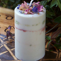 AMBROSIA Artisan Alchemy Nectar of the Goddess Soy Pillar Candle for Passion, Goddess Consciousness, Faery Workings, Handfasting, Ostara