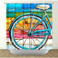 DiaNoche Designs Life Cycles by Danny Phillip's Fabric Shower Curtain