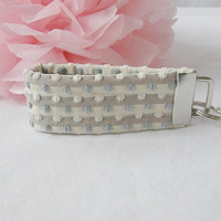 Ready To Ship Light Blue Cream Beige Taupe Key Fob Wristlet Key Chain OOAK