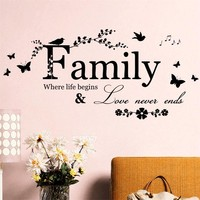 8346 2.5 Family where life begins quote wall stickers flower vinyl home decoration wall stickers home decor wall sticker