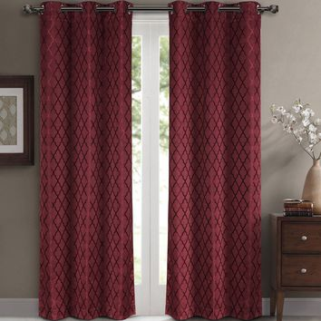 Burgundy Willow Blackout Window Curtain Panels (Two Panels )