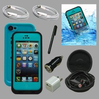 FOR APPLE iPHONE 5 5S TEAL WATERPROOF SNOWPROOF SHOCKPROOF COMBO CASE PHONE