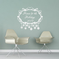 Wall Decal Frozen Snowflakes Home for the Holidays 2014 Vinyl Wall Decal 22477