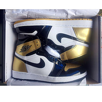 samfine2 Nike Air Jordan Retro 1 Gold Contrast Sports shoes High Tops