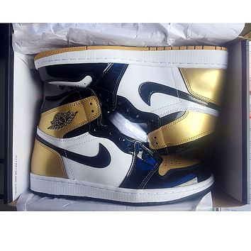 Wearwinds Nike Air Jordan Retro 1 Gold Contrast Sports shoes High Tops