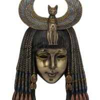 Egyptian Bastet Mask Headdress Wall Hanging Plaque 10H