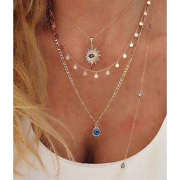 Figaro Chain with or Without Evil Eye  55cm /21.5inc Necklace 925 Sterling Silver
