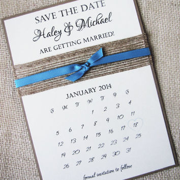 Rustic Burlap Ribbon Save the Date Calendar Card