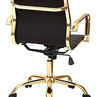 Office Star Work Smart Faux Leather Mid Back Arm Chair in Black