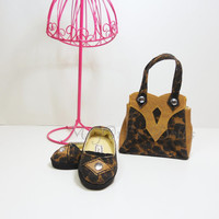"""American Girl Dolls Designer Purse and Shoes in Brown Leopard - """"TESSIE"""" - by MegOri's Dolls"""
