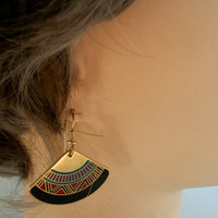 Vintage Fan Shaped Pierced Earrings Enamel Signed Laurel Burch Mali 1980s