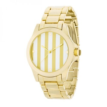 Gold Watch - Gold Stripe Dial