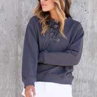 Morena Charcoal Lace Up Sweater