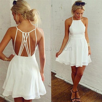 Spaghetti Strap Mini Chiffon Beach Dress