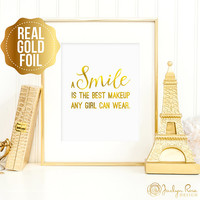 Marilyn Monroe art, A smile is the best makeup any girl can wear, Marilyn Monroe quote, real gold foil wall art, bedroom decor, Marilyn art
