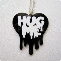 Hug Me Melting Dripping Heart Necklace Kawaii Fairy Kei Creepy Cute