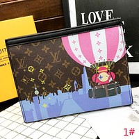LV Louis Vuitton New fashion monogram pikachu balloon leather women file package handbag cosmetic bag 1#