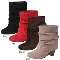 Glaze by Adi Women's Faux Suede Wedge Boots | Overstock.com
