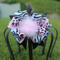 SALE HairBow Pink Panther Over the Top Bow