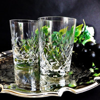 Vintage  Whisky Glasses in Cut Crystal, 2 Whiskey Tumblers, Scotch Glass, Low Ball Old Fashioned, Barware, Man Cave Gift, Home Bar Glassware
