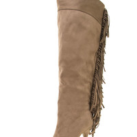 Taupe Fringe Tassel Stiletto Heel Hidden Platform Over The Knee Thigh High Boots