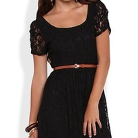 Lace High Low Dress with Ruched Sleeves and Belted Waist
