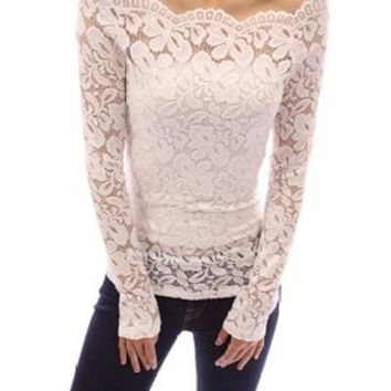Women's Floral Lace Off Shoulder Long Sleeves Sheer Blouse Top (M, white)