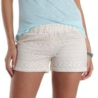 Ivory Low Rise Lace Shorts by Charlotte Russe