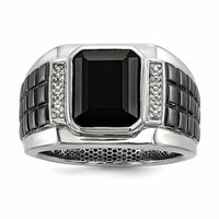 Sterling Silver Diamond & Onyx Square Black Rhodium-plated Men's Ring