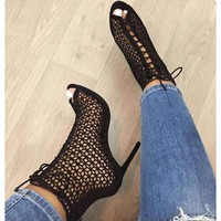 Cut Out Lace Up Peep Toe Stiletto High Heels Short Boot Sandals