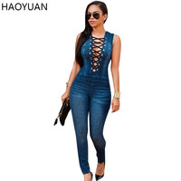 HAOYUAN Autumn Women Jumpsuit 2017 Casual Bandage Full Bodysuit Bodycon Jeans Jumpsuits Elegant Denim Overalls Womens Rompers