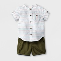 Baby Boys' 2pc Button-Down Short Sleeve Shirt and Shorts Set - Cat & Jack™ White/Green