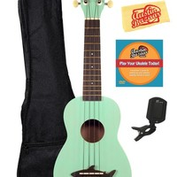 Kala MK-SS-GRN Makala Shark Bridge Soprano Ukulele with Vintage Satin Finish Standard Bundle - Surf Green