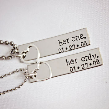 Her One, Her Only - WITH DATE - Lesbian Couples Jewelry - Hand Stamped Stainless Steel LGBT Necklace Set - Sterling Silver Heart Charm