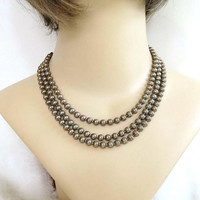 Mid-Century Gold Tone Metal Beads Necklace Vintage 3 Strand Signed MI Western Germany