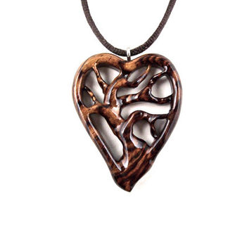 Tree of Life Necklace, Wooden Tree of Life Pendant, Wood Heart Necklace, Wooden Heart Pendant, 5th Anniversary Gift for Her, Tree Necklace