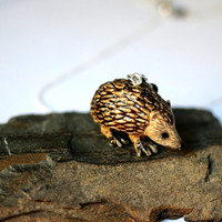 Hedgehog Necklace Handpainted Porcelain Charm Pendant Tiger Eye Stone Beads Wire Wrapped by Hendywood