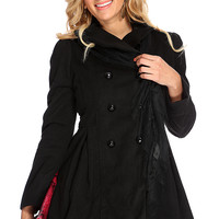 Black Fold Over Collar Double Breasted Pea Coat
