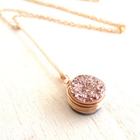Rose gold Druzy Drop pendant necklace Holiday gift for her Under 60 As worn by Actress Stephanie Drapeau
