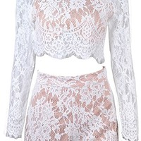 Join In White Lace Long Sleeve Scoop Neck Open Back Crop Top Two Piece Short Set