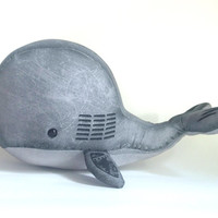 """Industrial Steampunk Stuffed Whale: """"Mechanical"""" stuffed animal whale with gears"""