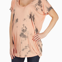 Orange Grey Tie Dye Maternity Top