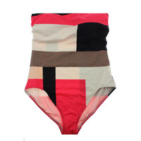 Kate Spade Womens Colorblock Strapless One-Piece Swimsuit
