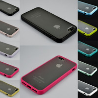 TPU Bumper Frame Matte Clear Hard Back Skin Case Cover for iPhone 5 5S SE + Film