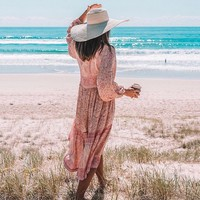 Boho chic Floral Printed Dress Cotton Poinciana Gown Women Dresses Button V-Neck Long Sleeve Beach Dress Vestidos
