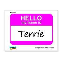 Terrie Hello My Name Is Sticker
