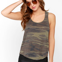 About Face Olive Green Camo Print Tank Top