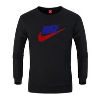 NIKE autumn and winter trend casual sports head round neck cotton sweater black