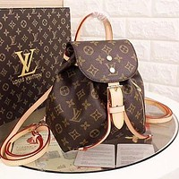 Louis Vuitton LV Classic Drawstring Backpack Fashion Lady Handbag Retro Small School Bag