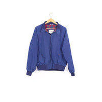 90s field & stream retro windbreaker / vintage members only style jacket / cafe racer / golf / blue red plaid lined / classic basic / M - L
